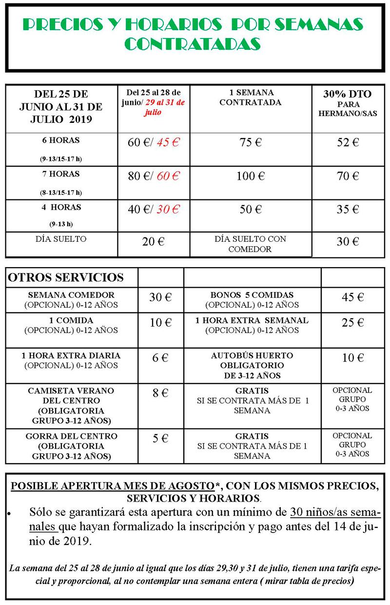 Precios de la escuela de Verano en Valencia para niños 2019
