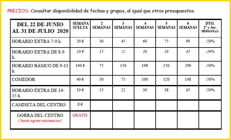 Nuevos precios para el curso de verano 2020 en Valencia